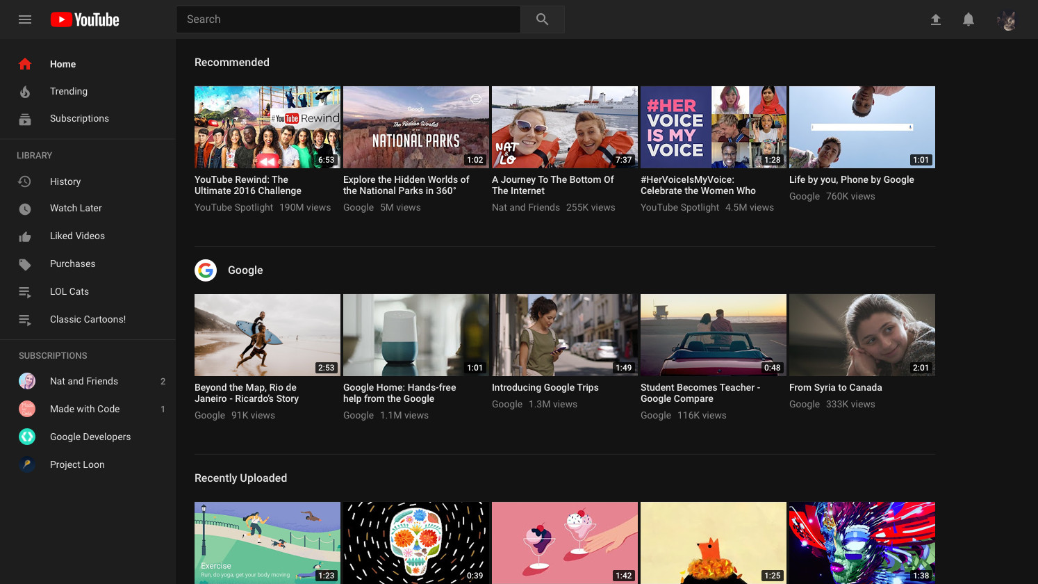 YouTube desktop black