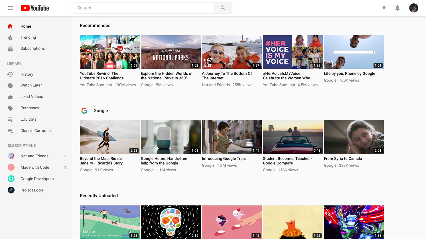 Youtube desktop biely